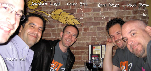 Ben Nadel at the New York ColdFusion User Group (May. 2009) with: Abraham Lloyd and Peter Bell and Gert Franz and Mark Drew