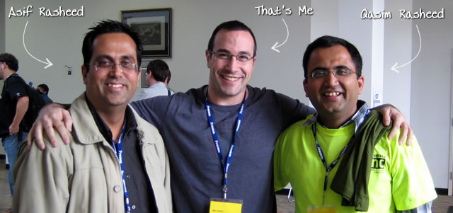 Ben Nadel at CFinNC 2009 (Raleigh, North Carolina) with: Asif Rasheed and Qasim Rasheed