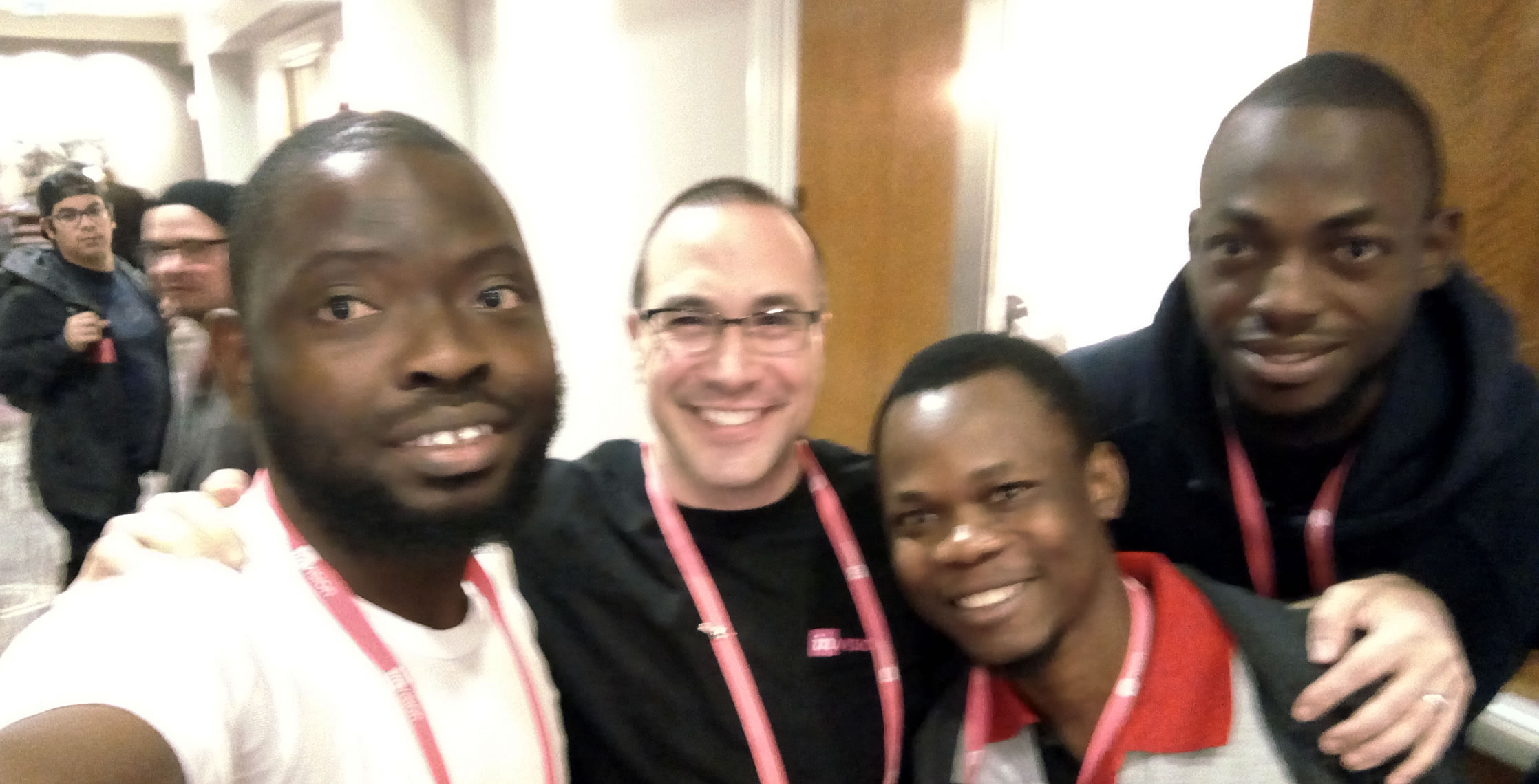 Ben Nadel at InVision In Real Life (IRL) 2018 (Hollywood, CA) with: Azeez Olaniran and Adebayo Maborukoje and Jorg Are