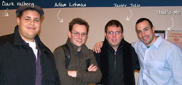 Ben Nadel at the New York ColdFusion User Group (Jan. 2008) with: Clark Valberg and Adam Lehman and Javier Julio