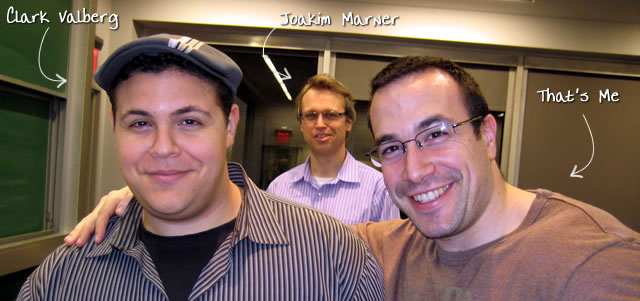Ben Nadel at the New York ColdFusion User Group (Feb. 2009) with: Clark Valberg and Joakim Marner