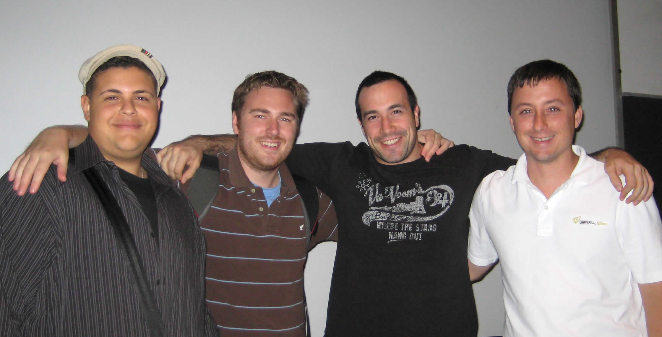 Ben Nadel at the New York ColdFusion User Group (Jul. 2008) with: Clark Valberg and Simon Free and Dan Wilson