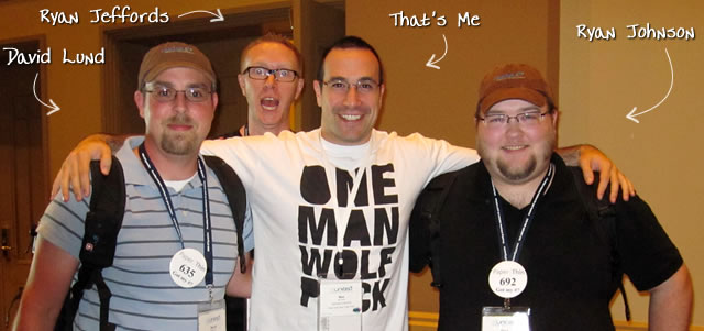 Ben Nadel at CFUNITED 2010 (Landsdown, VA) with: David Lund and Ryan Jeffords and Ryan Johnson