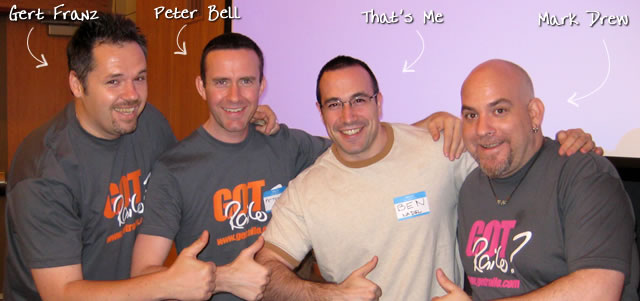 Ben Nadel at the New York ColdFusion User Group (May. 2009) with: Gert Franz and Peter Bell and Mark Drew