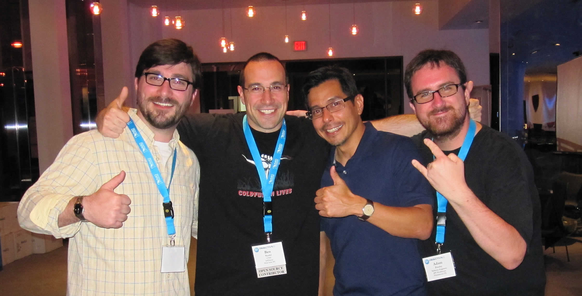 Ben Nadel at cf.Objective() 2013 (Bloomington, MN) with: Jesse Roach, Miguel Olivarez, and Adam Presley