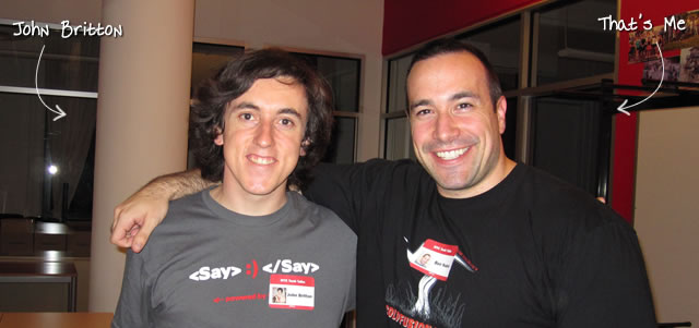 Ben Nadel at the NYC Tech Talk Meetup (Aug. 2010) with: John Britton