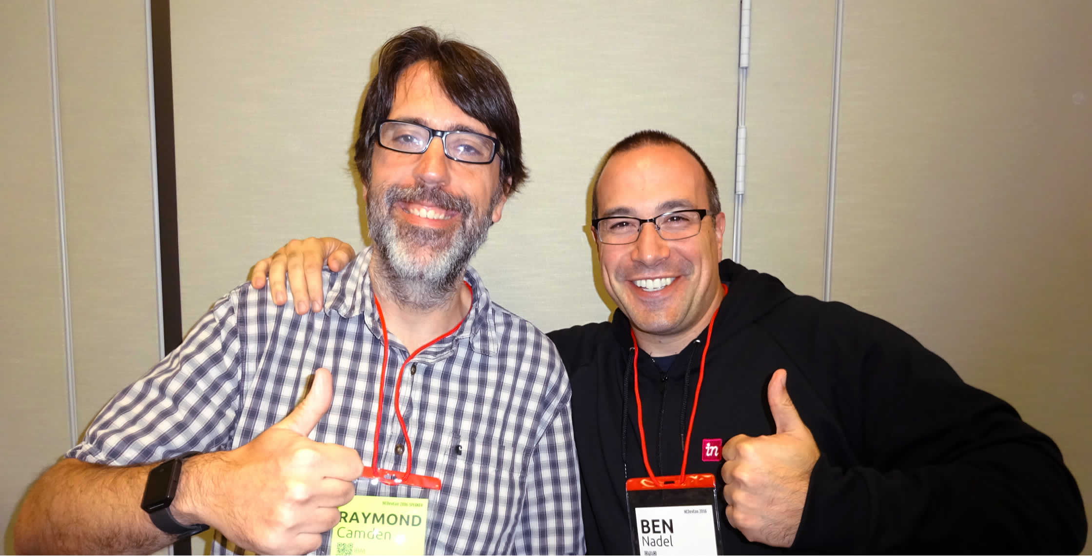 Ben Nadel at NCDevCon 2016 (Raleigh, NC) with: Ray Camden