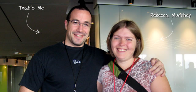 Ben Nadel at the jQuery Conference 2009 (Cambridge, MA) with: Rebecca Murphey