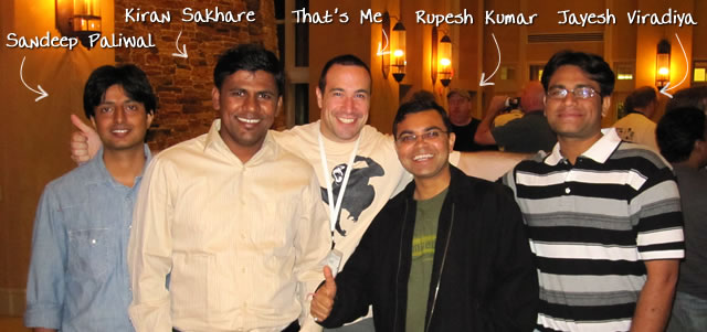 Ben Nadel at CFUNITED 2010 (Landsdown, VA) with: Sandeep Paliwal and Kiran Sakhare and Rupesh Kumar and Jayesh Viradiya