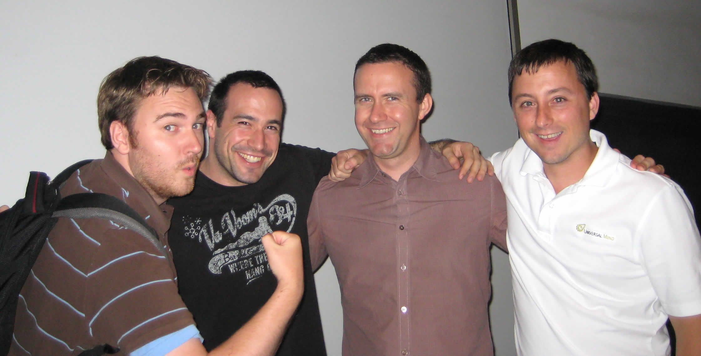 Ben Nadel at the New York ColdFusion User Group (Jul. 2008) with: Simon Free, Peter Bell, and Dan Wilson