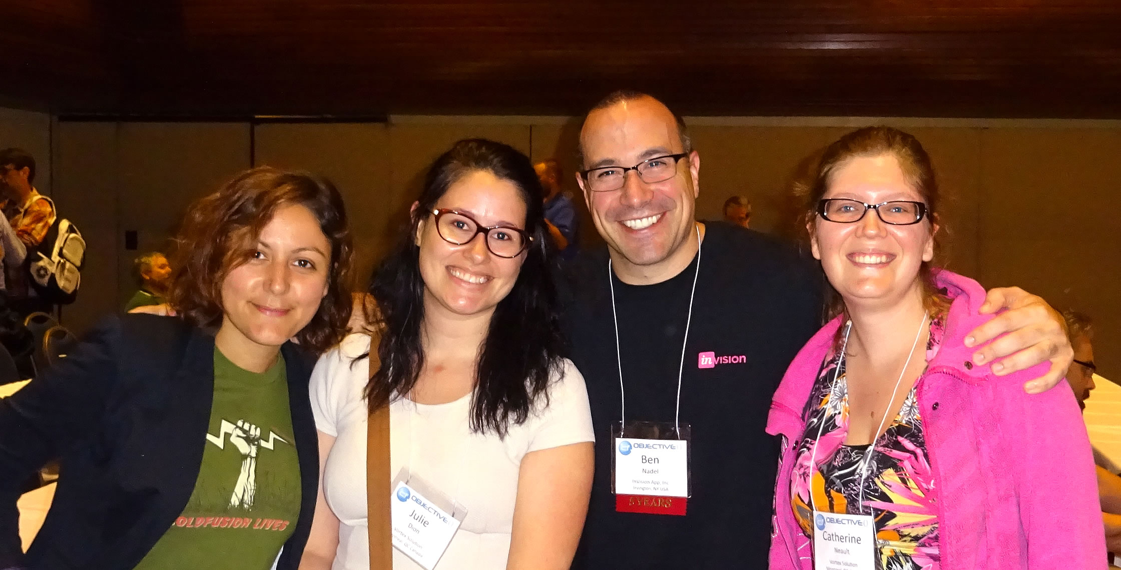 Ben Nadel at cf.Objective() 2017 (Washington, D.C.) with: Valerie Poreaux and Julie Dion and Catherine Neault