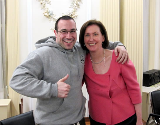 Ben Nadel with Mary (professor) at Philosophy Works at the School of Practical Philosophy.
