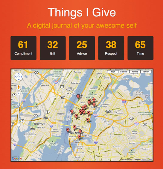 Things I Give (ThingsIGive.com) - A Digital Journal Of Your Awesome Self.