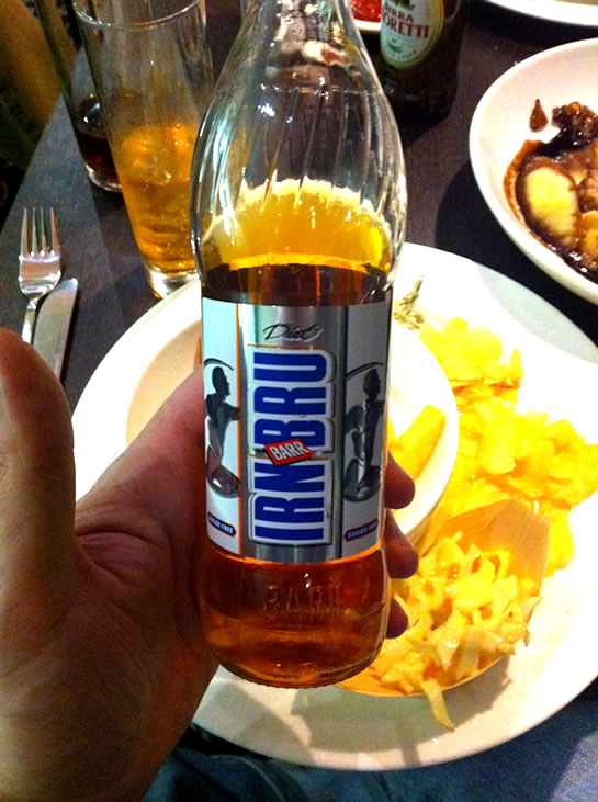 IrnBru - pronounced, urn-brew.