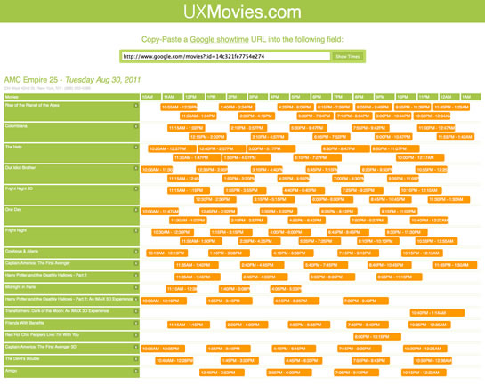 UXMovies.com takes Google Movie showtimes and plots them on a gantt-chart-like visual in order to present movies show times in a visual manner.