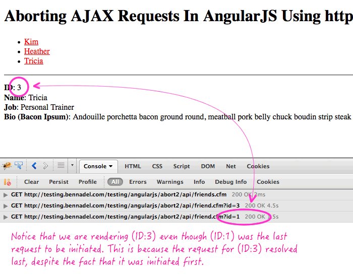 Aborting AJAX requests in AngularJS can be important or your View-Model may be left in an unexpected state.