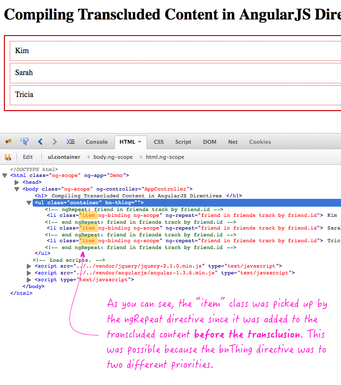 Compile transcluded content in AngularJS directive, before content is transcluded.