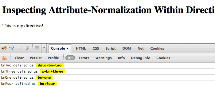Inspecting the normalized attribute values within a directive in AngularJS.