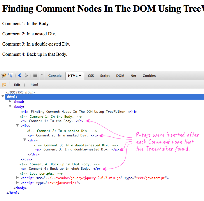 Using the TreeWalker to find comments in a DOM.