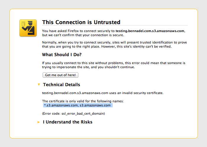 Amazon Web Services (AWS) SSL error for virtual-hosted-style S3 domains.