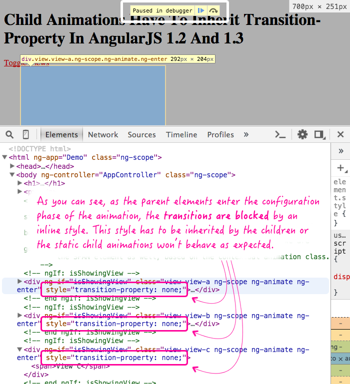 AngularJS 1.2 and ngAnimate inject transition-property: none when blocking configuration-phase animations.