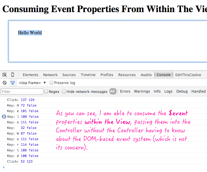 Consuming $event properties from within the View in AngularJS.