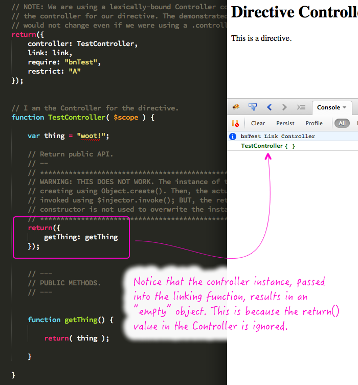 Directive Controllers Cannot Use The Revealing Module Pattern In Classy Revealing Module Pattern
