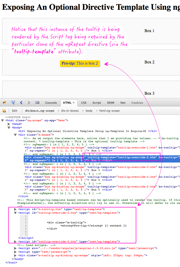 Exposing an optional directive template using ng-template and the $templateCache() in AngularJS.