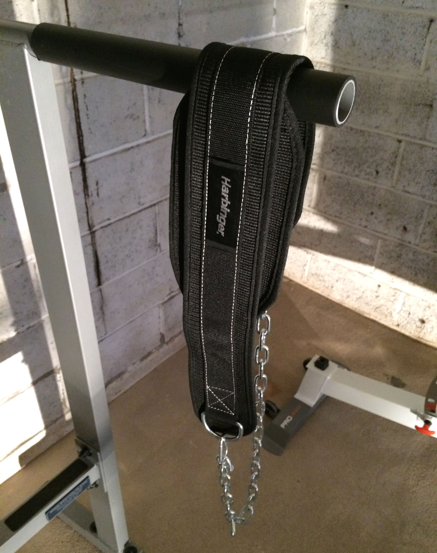 Building a home gym - harbinger dip belt.
