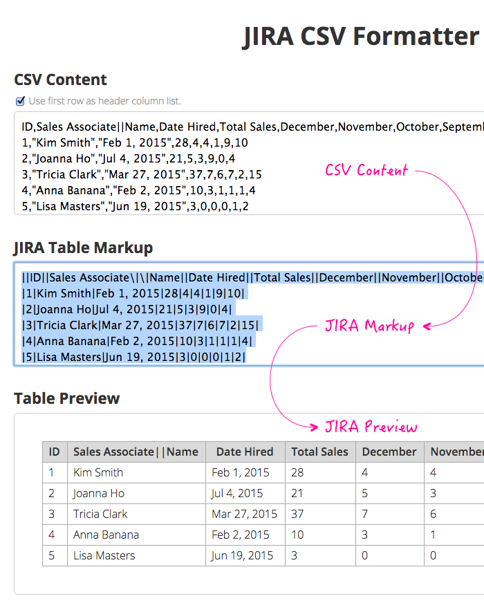 formatting csv data for jira tables using angularjs and plupload