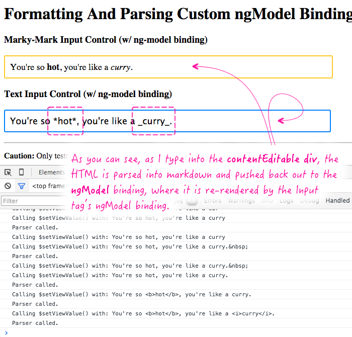 Using the ng-model and ngModelController to implement a super simple markdown editor in AngularJS.