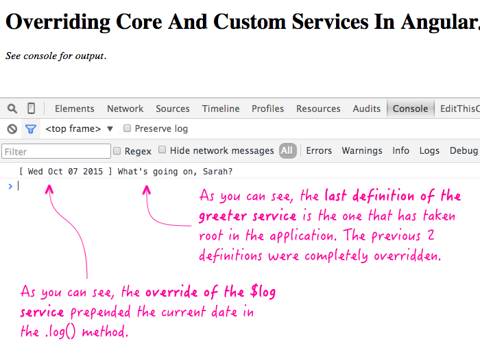 Overriding both core and custom services in AngularJS.