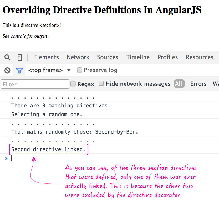 Overriding directive definitions in AngularJS.