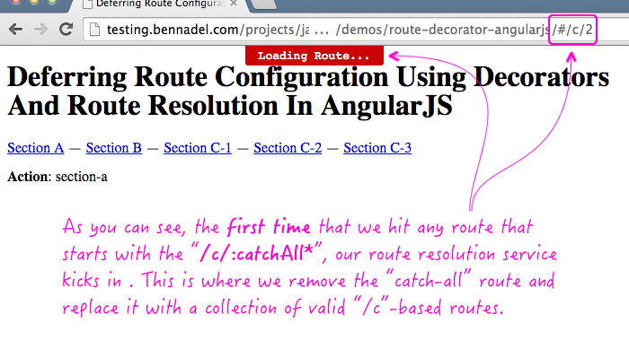 Using $route decorators in AngularJS to help defer route configuration.