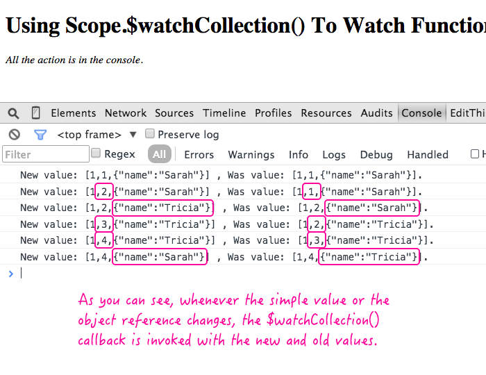 Watching an array literal with Scope.$watchCollection() in AngularJS.