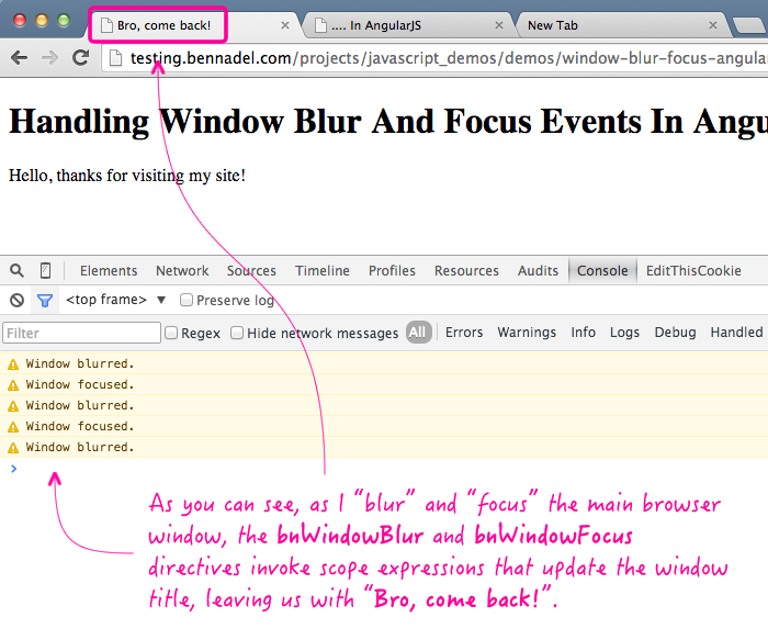 Handling window blur and focus events in an AngularJS application.