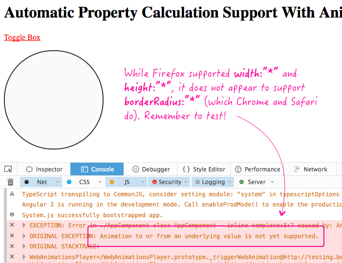 Automatic property calculation support in Angular 2 RC 6 web animations need to be tested across browsers.