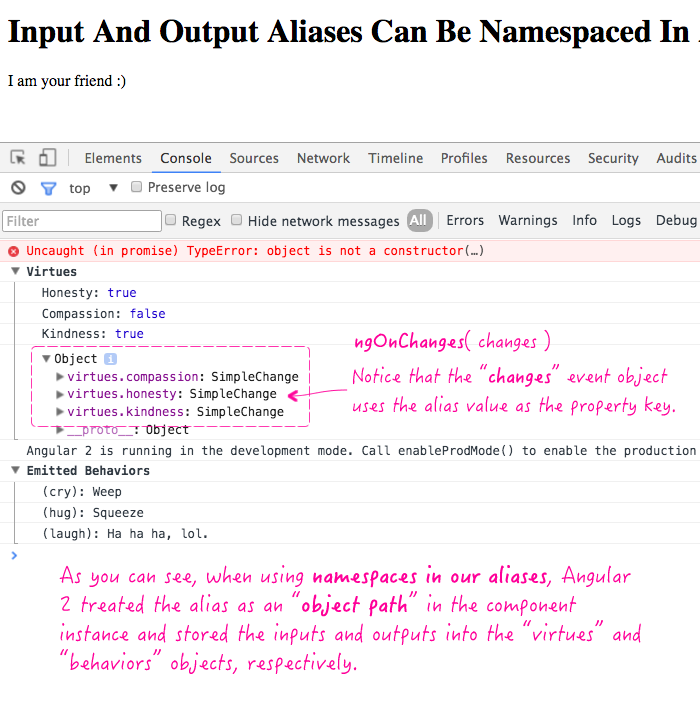 Input and Output aliases can be namespaced in Angular 2 Beta 14.