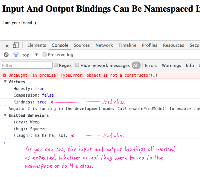 Input and Output bindings can be namespaced in Angular 2 beta 14.