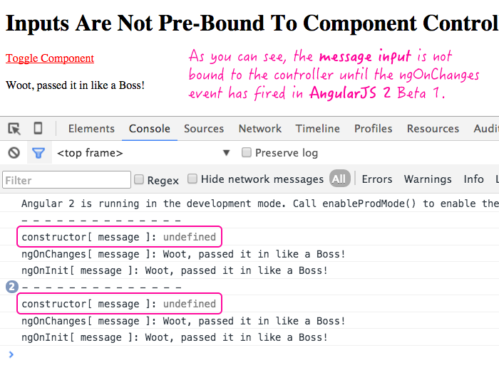 Inputs are not pre-bound to the component controllers in AngularJS 2 Beta 1.