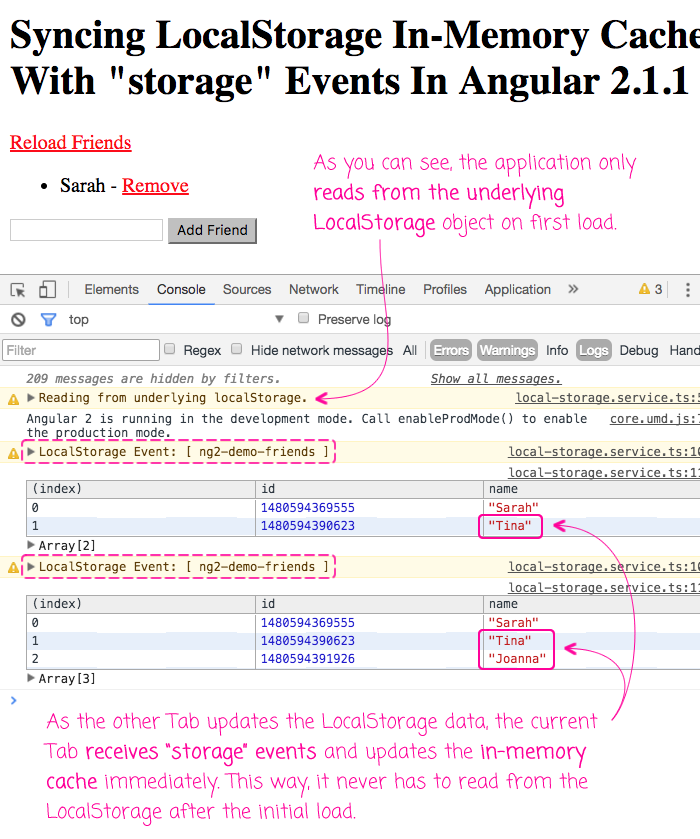 Syncing LocalStorage In-Memory Cache With