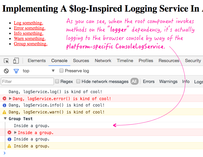 Creating a log service in Angular 2 RC 4.