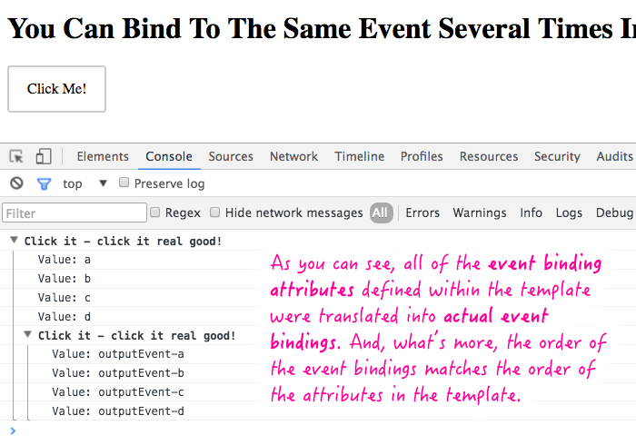 Multiple event bindings in the span of a single element in Angular 2 Beta 17.