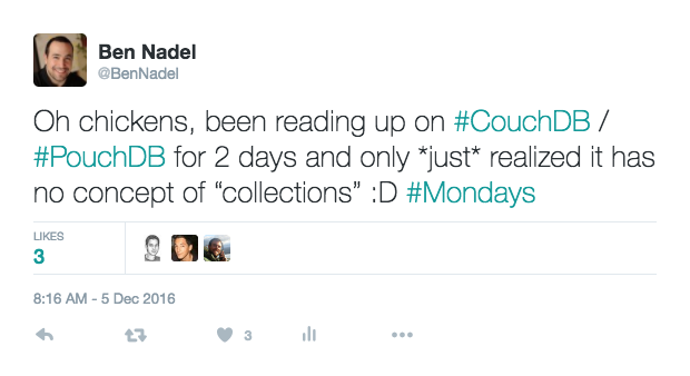 Tweet about collections in PouchDB (or the lack thereof).