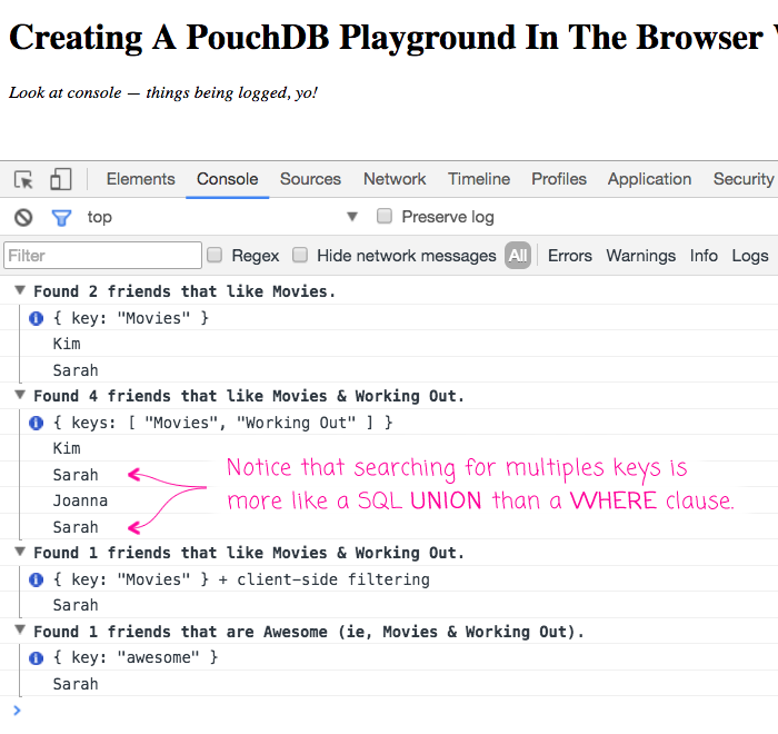 Creating a PouchDB playground in the browser using JavaScript.