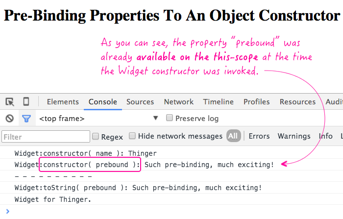 Pre-binding properties to an object constructor in JavaScript.