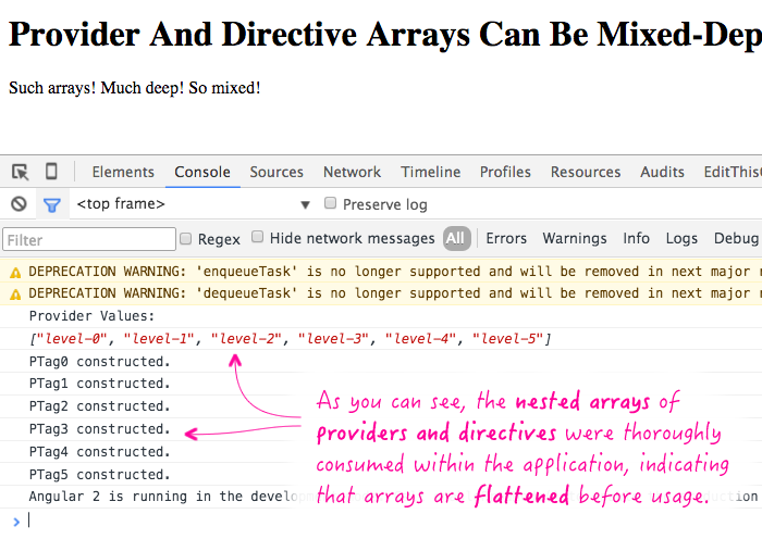 Provider and directive arrays are flattened before they are consumed in Angular2.