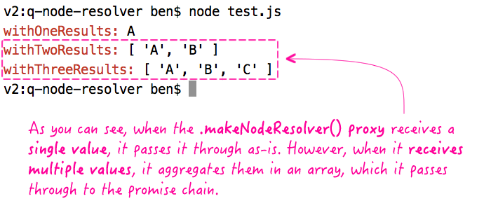 Q's deferred.makeNodeResolver() will aggregate results as an array, when necessary.