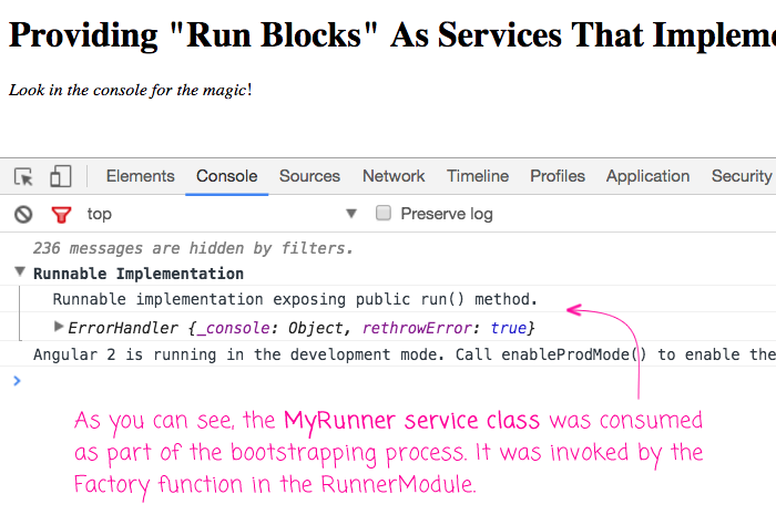 Implementing run blocks in Angular 2 as services that implement a Runnable interface.