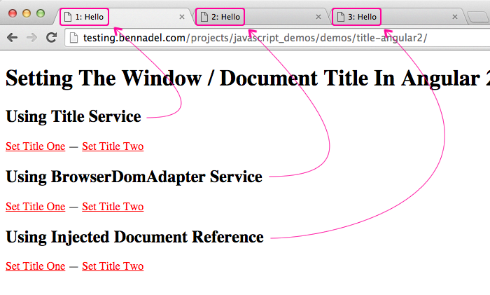 Setting the window / document title in Angular 2 Beta 9.